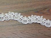 40mm Corded Beaded Edging Couture Bridal Lace Trimming  Ivory