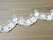 70mm Julianne 3D Embroidered & Beaded Couture Bridal Lace Trimming  Ivory