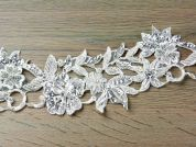 90mm Beaded Guipure Couture Bridal Lace Trimming  Ivory