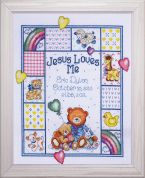 Tobin Baby Counted Cross Stitch Kit Jesus Loves Me Sampler