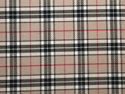 Poly Viscose Tartan Suiting Dress Fabric  Beige