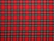 Poly Viscose Tartan Suiting Dress Fabric  Red