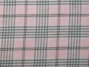 Poly Viscose Tartan Suiting Dress Fabric  Pink & Grey
