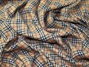 Burnberry Plaid Check Polyester Tartan Suiting Dress Fabric  Beige, Black & Red