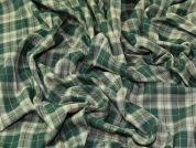 Claremont Plaid Check Polyester Tartan Suiting Dress Fabric  Green