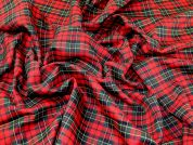 Highland Plaid Check Polyester Tartan Suiting Dress Fabric  Red & Green