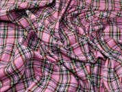 Kintyre Plaid Check Polyester Tartan Suiting Dress Fabric  Candy Pink
