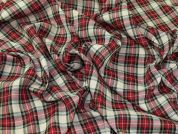 Macmerry Plaid Check Polyester Tartan Suiting Dress Fabric  Beige & Red