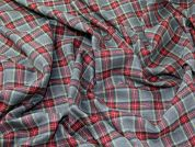 Marykirk Plaid Check Polyester Tartan Suiting Dress Fabric  Grey & Red