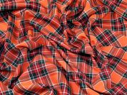 Sienna Plaid Check Polyester Tartan Suiting Dress Fabric  Orange