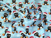 Christmas Polycotton Fabric  Blue
