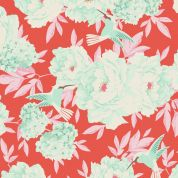 Tilda Hummingbird Cotton Poplin Fabric  Coral