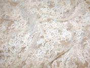 Teresa Corded & Embroidered on Tulle Couture Bridal Lace Fabric  Ivory