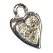 Impex Rhinestone Metal Heart Shape Charms  Silver Crystal