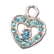 Impex Rhinestone Metal Heart Shape Charms  Aquamarine