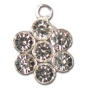 Impex Rhinestone Metal Flower Shape Charms  Silver Crystal