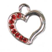 Impex Rhinestone Metal Heart Shape Charms  Siam