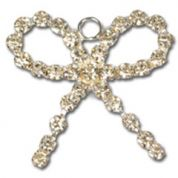Impex Rhinestone Metal Bow Shape Charms  Silver Crystal