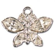 Impex Rhinestone Metal Butterfly Shape Charms  Silver Crystal