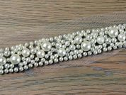 20mm Multi Sized Pearl Bead Couture Bridal Lace Trimming  Ivory
