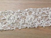 85mm Beaded & Pearl Couture Bridal Lace Trimming  Ivory