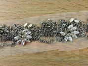 50mm Pearl & Diamante Couture Bridal Lace Trimming  Silver