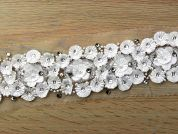 60mm Cut Flower Beaded Couture Bridal Lace Trimming  White