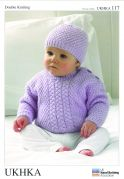 UKHKA Baby Sweater & Hat Knitting Pattern No 117  DK