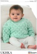 UKHKA Baby Cardigans & Sweater Knitting Pattern No 127  DK
