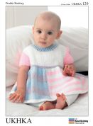 UKHKA Baby Dress, Cardigan & Hat Knitting Pattern No 129  DK