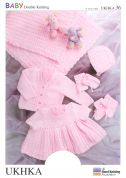 UKHKA Baby Hat, Socks, Boots, Dress, & Cardigan with Blanket Knitting Pattern No 36  DK