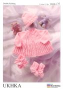 UKHKA Baby Coat, Bonnet, Bootees, & Mittens Knitting Pattern No 37  DK