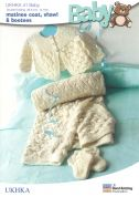 UKHKA Baby Matinee Coat, Shawl & Booties Knitting Pattern No 41  DK