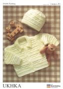 UKHKA Baby Jacket & Hat Knitting Pattern No 51  DK