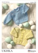 UKHKA Baby Cardigan & Sweater Knitting Pattern No 64  DK