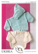 UKHKA Baby Hooded Cardigan & Sweater Knitting Pattern No 67  DK