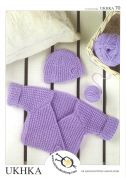 UKHKA Baby Wrap Cardigan & Hat Knitting Pattern No 70  DK