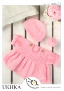 UKHKA Baby Sweater & Hat Knitting Pattern No 71  DK