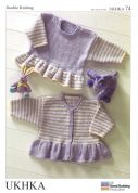 UKHKA Baby Sweater & Cardigan Knitting Pattern No 74  DK