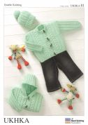 UKHKA Baby Jackets & Hat Knitting Pattern No 81  DK
