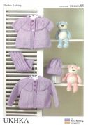 UKHKA Baby Cardigans, Hat & Scarf Set Knitting Pattern No 85  DK