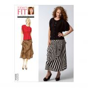 Vogue Ladies Sewing Pattern 1333 Blouse Top & Layered Skirt