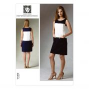 Vogue Ladies Easy Sewing Pattern 1382 Semi Fitted Colour Block Dress