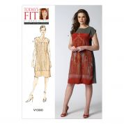 Vogue Ladies Easy Sewing Pattern Loose Fit Panelled Dresses
