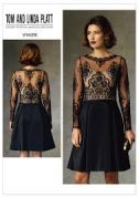 Vogue Ladies Sewing Pattern 1428 Dress with Sheer Bodice & Sleeves