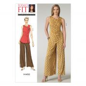 Vogue Ladies Easy Sewing Pattern 1452 Gathered Top & Wide Leg Pants