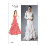 Vogue Ladies Petite Sizes Sewing Pattern 1495 Sweetheart Neckline Gowns with Flounces