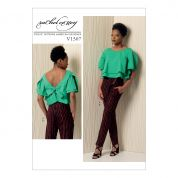 Vogue Ladies Sewing Pattern 1507 Layered Back Tie Top & Asymmetrical Zip Pants