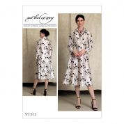 Vogue Ladies Sewing Pattern 1511 Half Placket, Long Sleeve Shirtdress