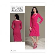 Vogue Ladies Sewing Pattern 1514 Mock Wrap Cutout Dress